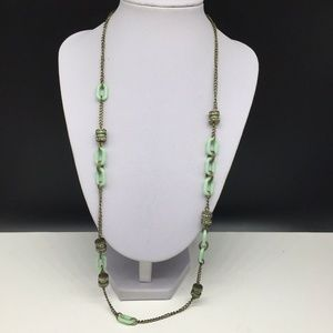 J CREW Light Green Chain Clear Rhinestone Necklace